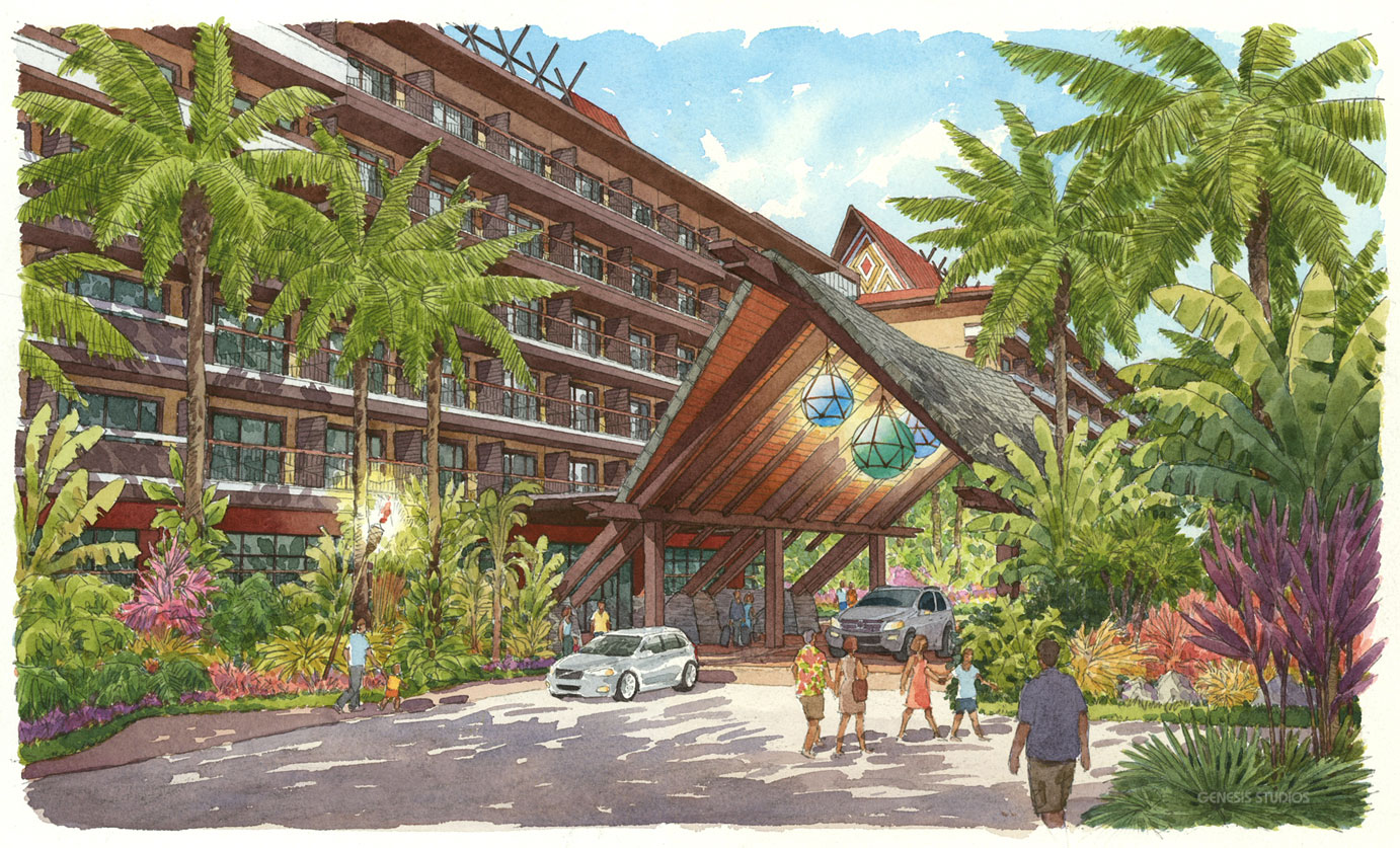 313069 Watercolor Architectural Rendering of Disney Polynesian for HHCP