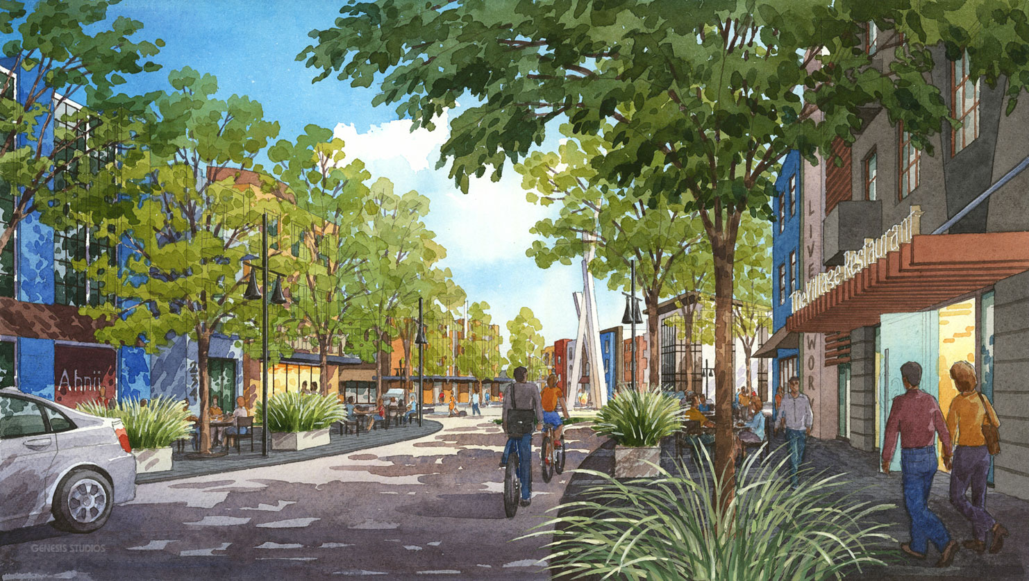 313084 Watercolor Architectural Rendering of Indian Hills for Skinner