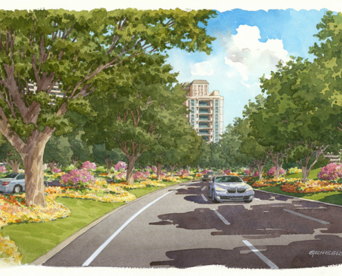 313138 Watercolor Architectural Rendering of Gold Drive for Camellias India