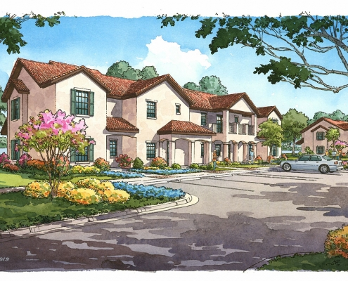 Pen & Ink with Watercolor Architectural Rendering of Star Island Resort & Club