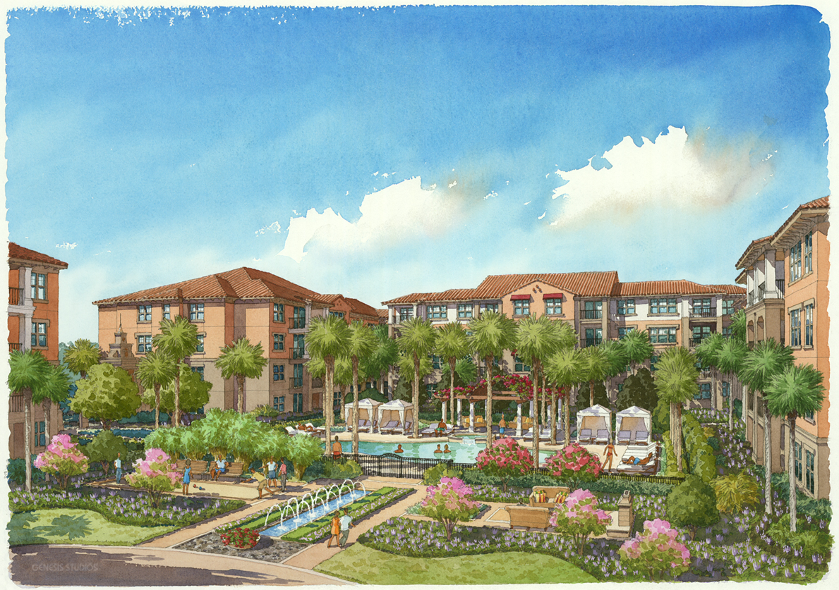 414167 Watercolor Architectural Rendering of Winter Park Residences for ACi Architects