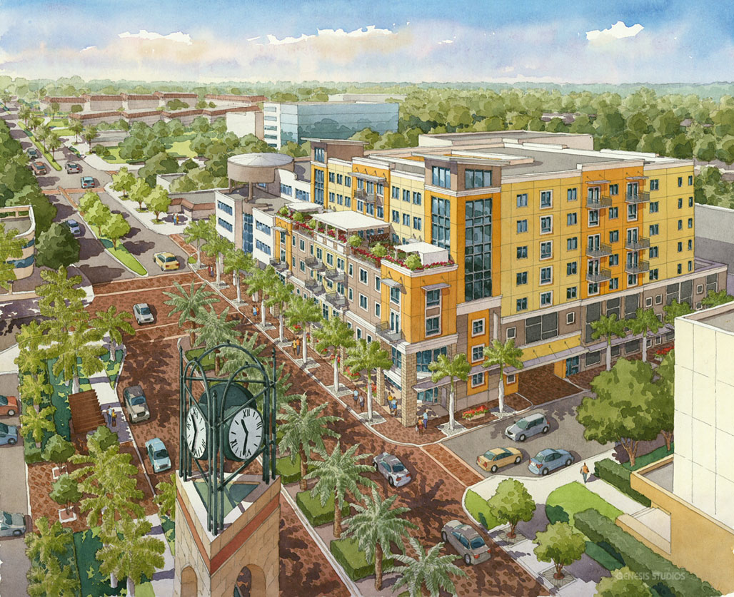 414172 Watercolor Architectural Rendering of Metro South from an Aerial View for Forum Architects