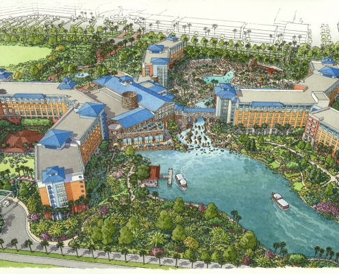 414179 Pen and Ink with Watercolor Architectural Renderings of Universal Sapphire Falls Hotel from an Aerial View for Ruhle Trammell Rubio