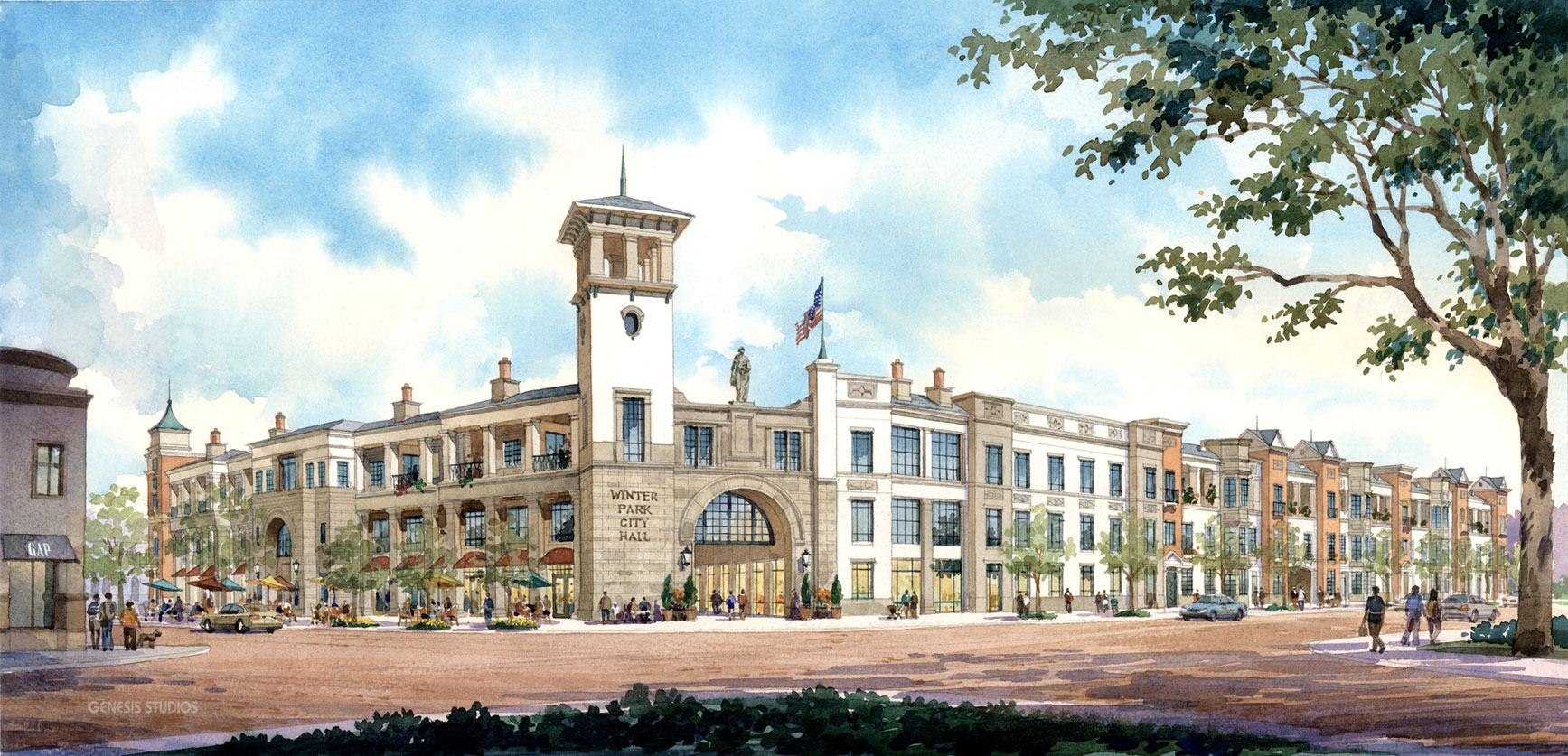 414215 Watercolor Architectural Rendering of United States Postal Service Downtown Central Park Station in Winter Park City Hall Complex for ACi Architects