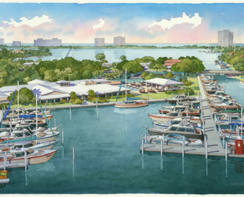 414234 Watercolor Architectural Rendering of Bird Key Yacht Club for Starboard Architect