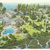 515004 Watercolor Architecutral Rendering of Palmetto Bluff from an Aerial View for Crescent Communities