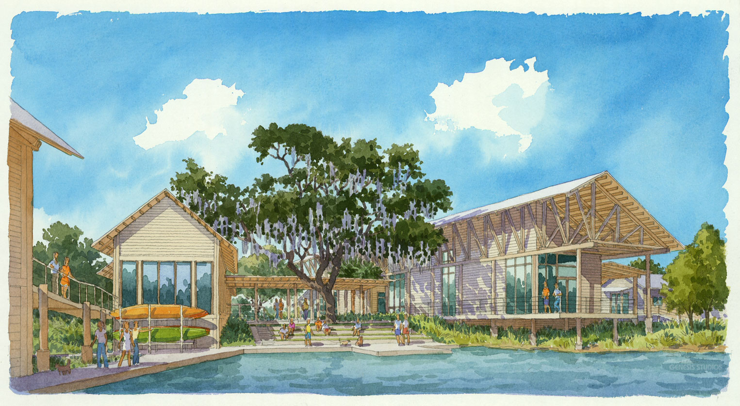515004 Watercolor Architectural Rendering of Palmetto Bluff Ampitheature for Crescent Communities