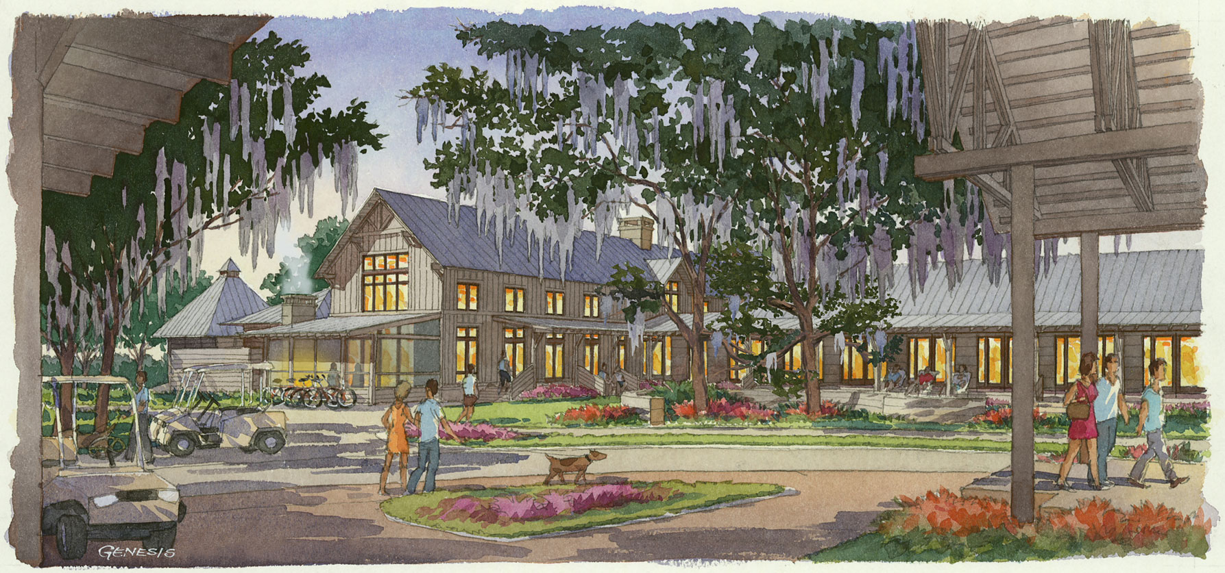 515004 Watercolor Architectural Rendering of Palmetto Bluff Entrance for Crescent Communities