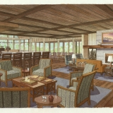 515004 Watercolor Architectural Rendering of Palmetto Bluff Great Room for Crescent Communities