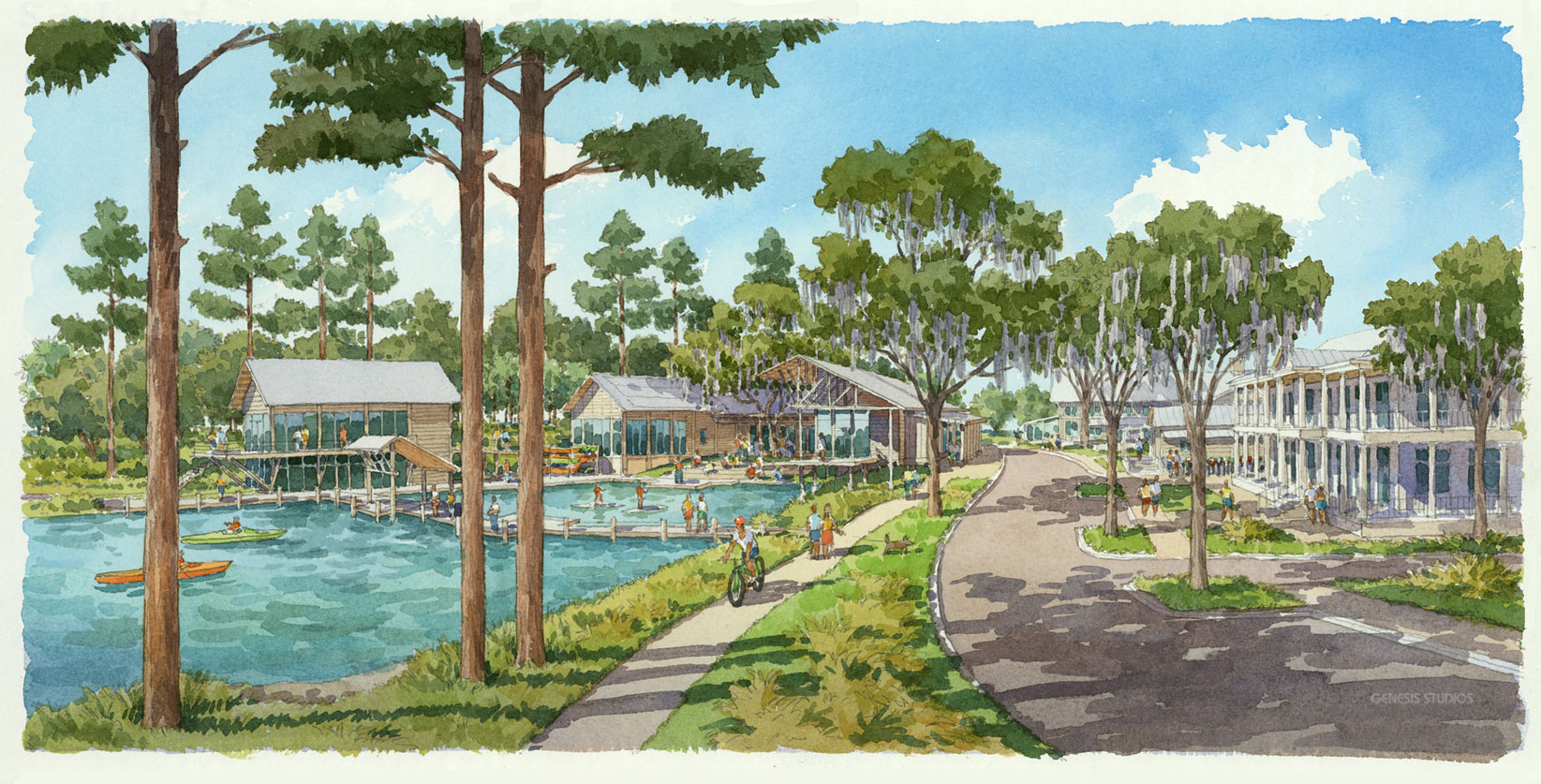 515004 Watercolor Architectural Rendering of Palmetto Bluff Lake for Crescent Communities