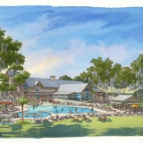 515004 Watercolor Architectural Rendering of Palmetto Bluff Pool for Crescent Communities