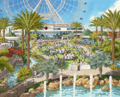 515006 Watercolor Architectural Renderingn of The Orlando Eye Aerial Exterior for Unicorp