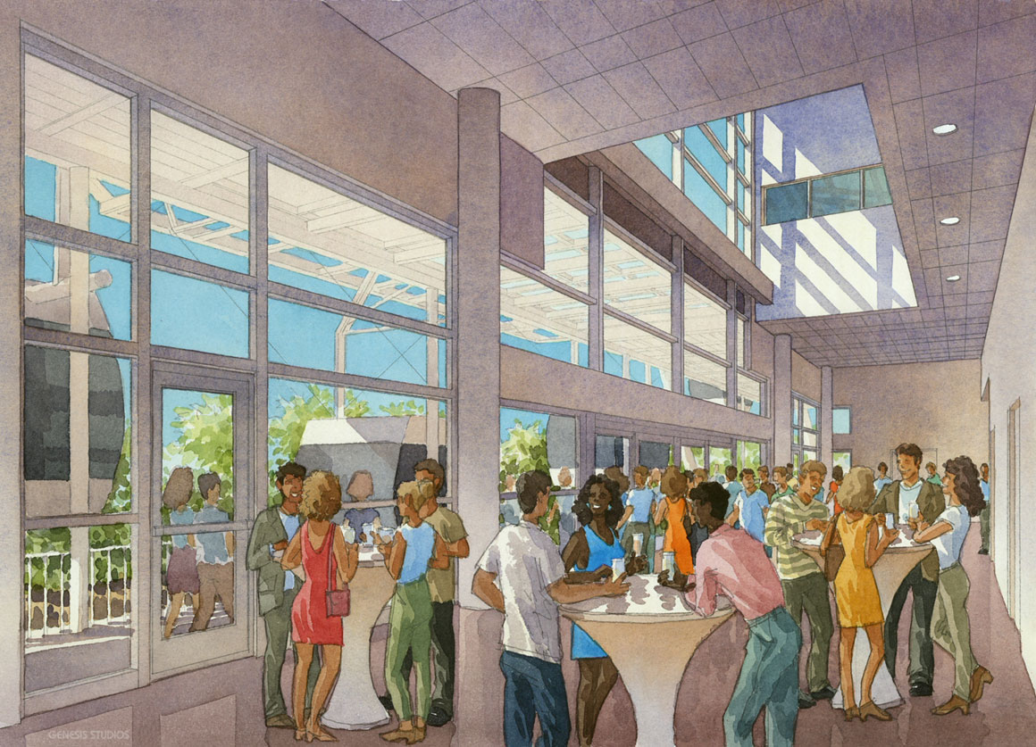 515006 Watercolor Architectural Renderingn of The Orlando Eye Bar Interior for Unicorp