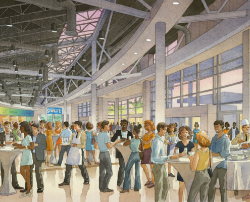 515006 Watercolor Architectural Renderingn of The Orlando Eye Terminal Interior for Unicorp