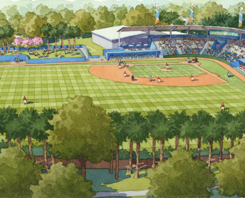515009 Watercolor Architectural Renderings of Walter Fuller Baseball Stadium for Booth Design