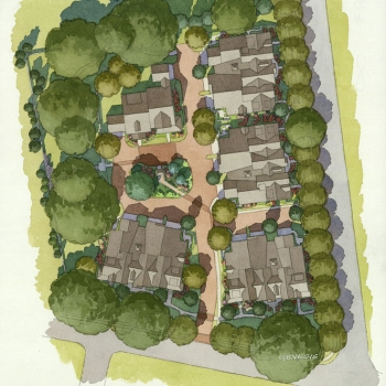 515061 Watercolor Site Plan of The Villa at Springdale for Smith Planning Group