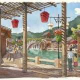 515084 Watercolor Architectural Renderng of Hailongtun China Canal for Stantec