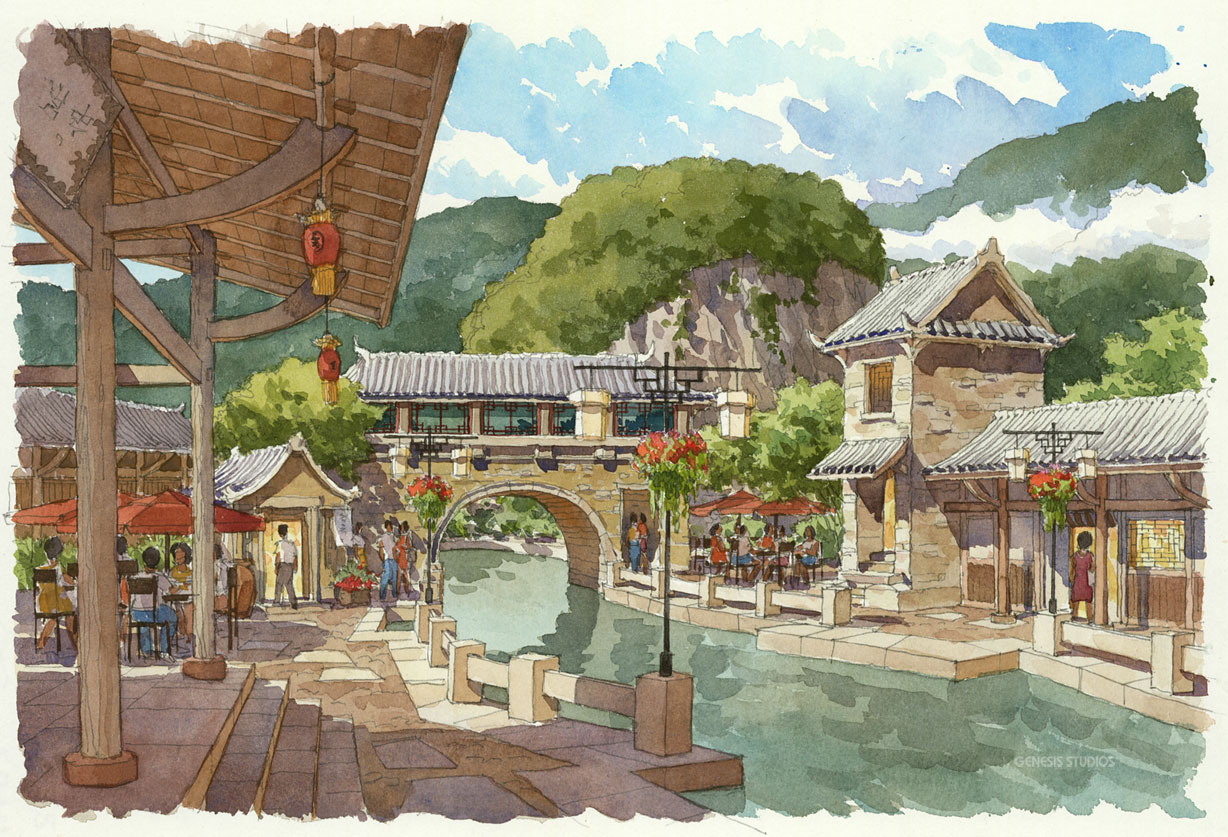515084 Watercolor Architectural Renderng of Hailongtun China Canal Bridge for Stantec