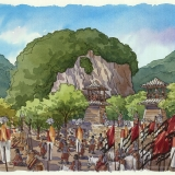 515084 Watercolor Architectural Renderng of Hailongtun China Military for Stantec