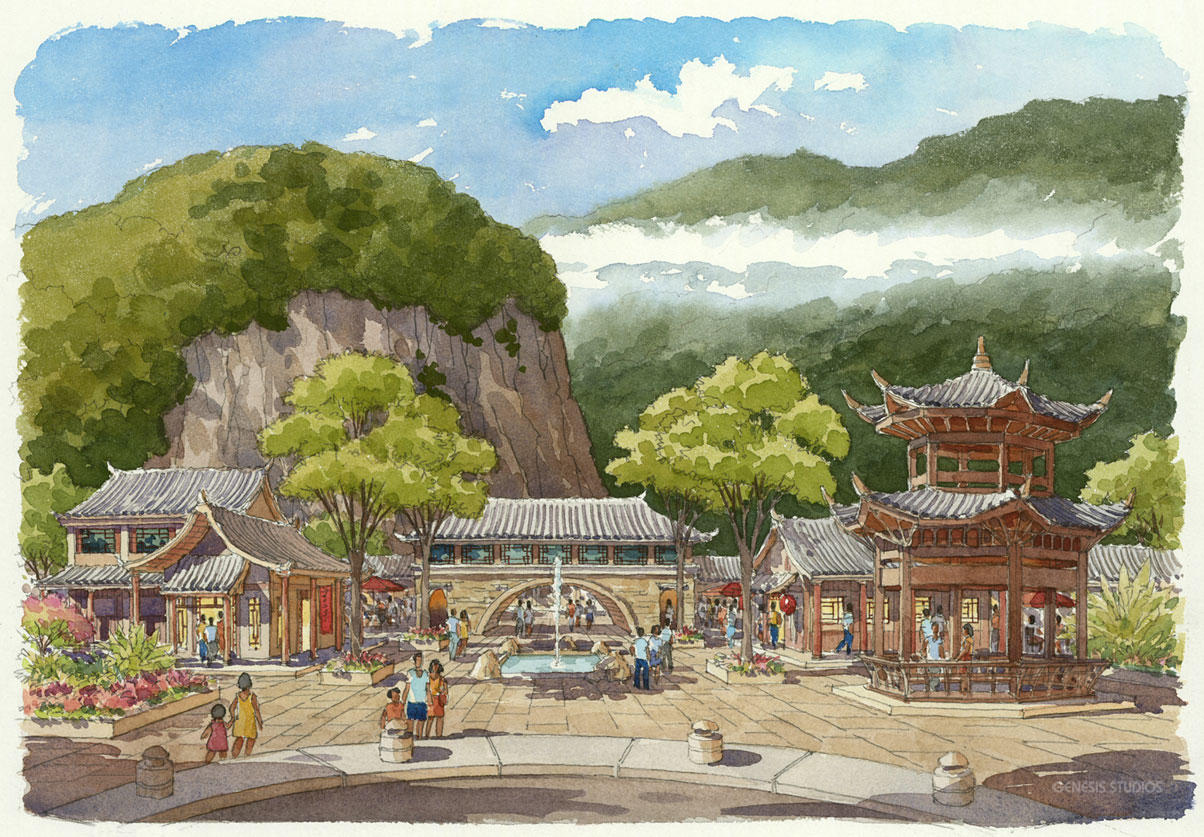 515084 Watercolor Architectural Renderng of Hailongtun China Pavilion for Stantec