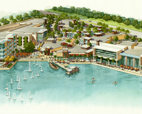 515086 Watercolor Architectural Rendering of Sarasota Bay Aerial for Stantec