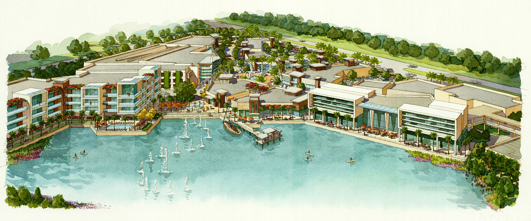515086 Watercolor Architectural Rendering of Sarasota Bay Aerial for Stantec