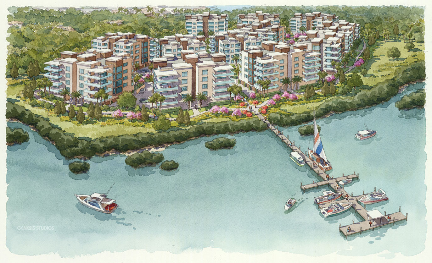 515086 Watercolor Architectural Rendering of Sarasota Boat Dock from an Aerial View for Stantec