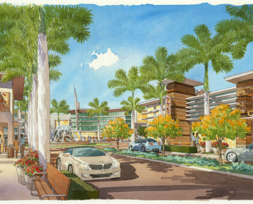 515086 Watercolor Architectural Rendering of Sarasota Street Scene for Stantec