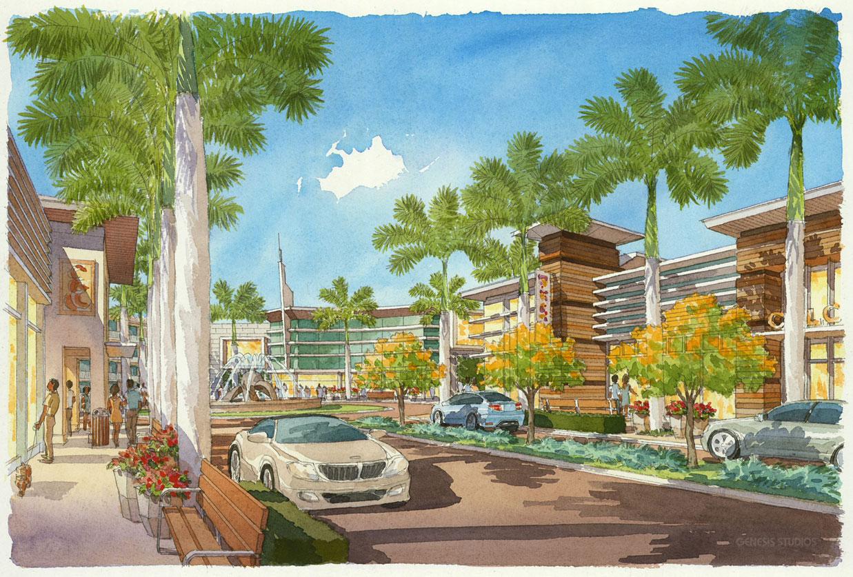 515086 Watercolor Architectural Rendering of Sarasota Street Scene for Stantec
