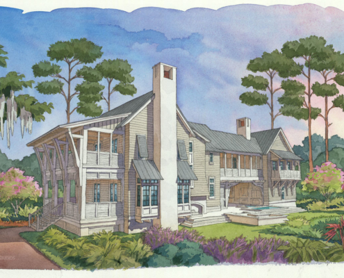 616005 Watercolor Architectural Rendering of Lot 5550 for Crescent Communities