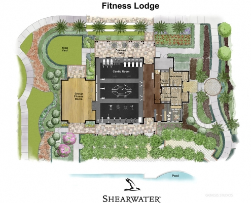 616024 Watercolor Site Plan of Shearwater Fitness Lodge for Freehold Capital Services