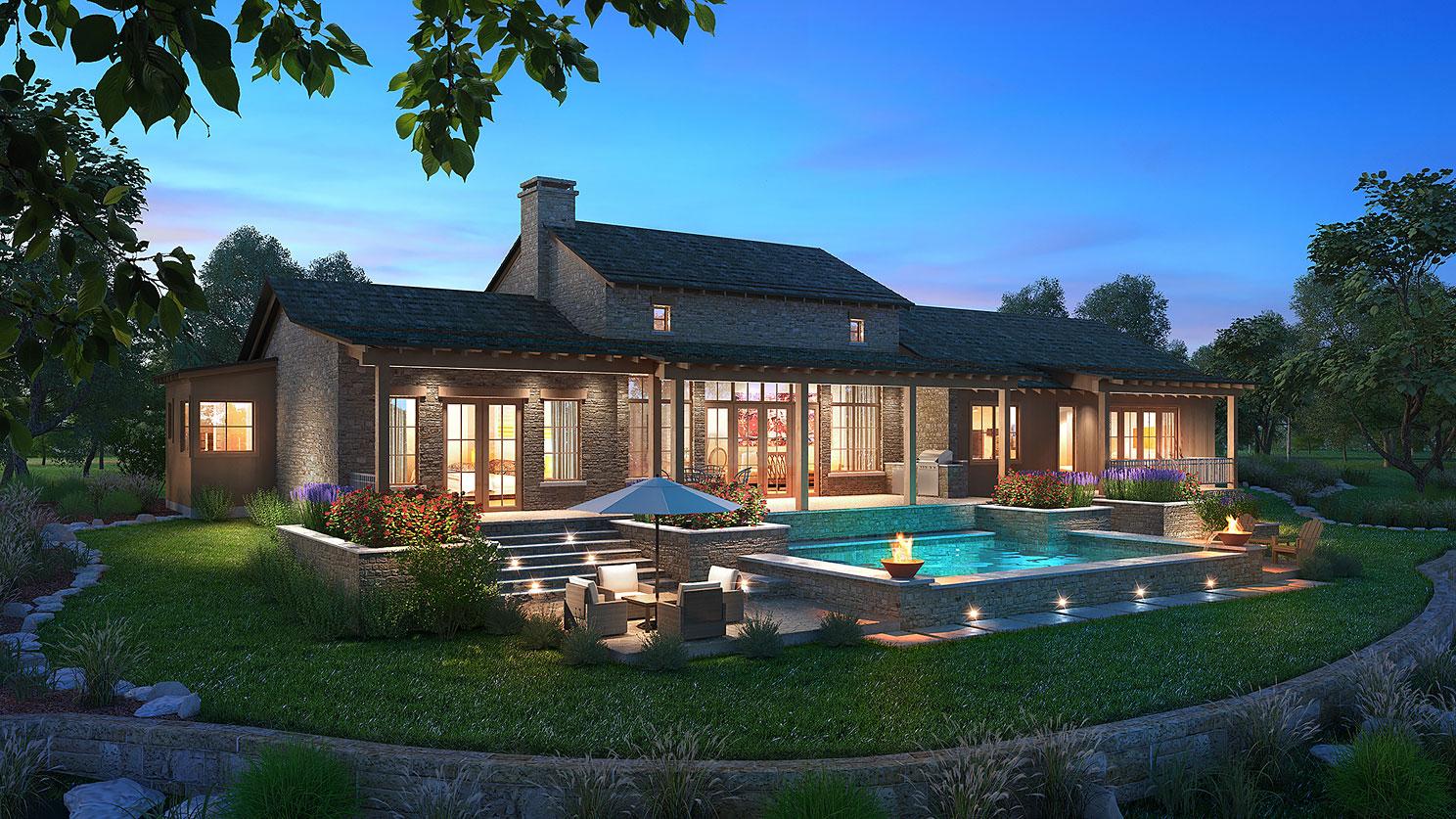 616056 Digital Photorealistic Architectural Renderings of Boot Ranch Villas Texas Live Oak Backard for Wheelock Communities