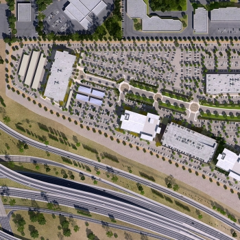 616111 Digital Photorealistic Architectural Site Plan of Chandler Freeway Crossing for Mark IV Capital Incorporated