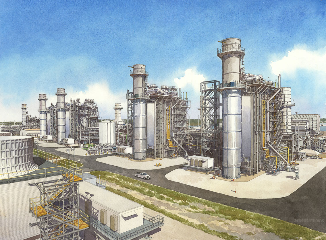 616125 Watercolor Architectural Rendering of Tampa Electric Company for Polk