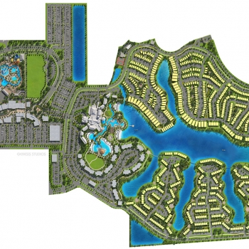 616128 Digital Photorealistic Site Plan of Margaritaville from an Aerial View for Citicommunities