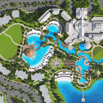 616128 Digital Photorealistic Site Plan of Margaritaville Pool from an Aerial View for Citicommunities