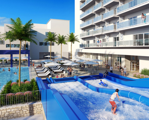 616137 Digital Photorealistic Architectural Rendering of Westin Cancun Surfing for Vistana Signature Experiences
