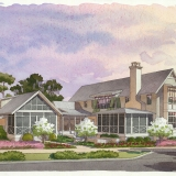 616172 Watercolor Architectural Rendering of Palmetto Bluff Lot 5505 from the North View for Crescent Communities