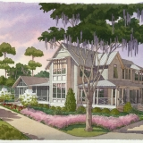 616172 Watercolor Architectural Rendering of Palmetto Bluff Lot 5505 from the West View for Crescent Communities