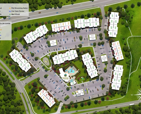 717003 Digital Photorealistic Site Plan of Ridge at Perry Bend Unit Key for Riverview Management