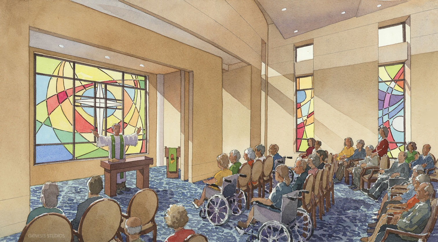 717099 Watercolor Architectural Rendering of Church Interior for C. C. Hodgson Architectural Group