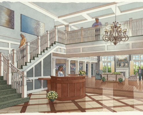 717206 Watercolor Architectural Rendering of The Grand Lobby for Civitas Architects