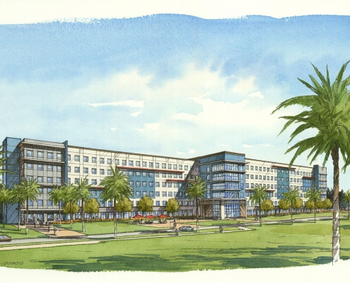 Pen & Ink with Watercolor Architectural Renderings of FAU Boca for Charlan Brock Associates