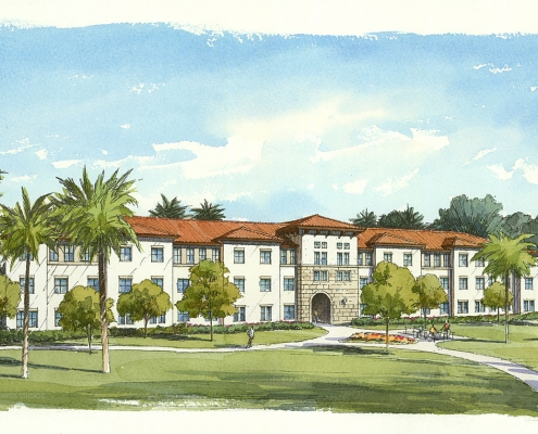 Pen & Ink with Watercolor Architectural Renderings of FAU Jupiter for Charlan Brock Associates