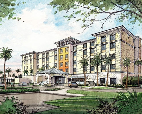 Pen & Ink with Watercolor Architectural Rendering of Margaritaville for JB Holdings