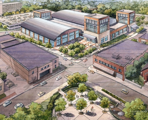 818171- Pen and Ink with Watercolor Rendering of Clarksville from an Aerial View for Convergence Design
