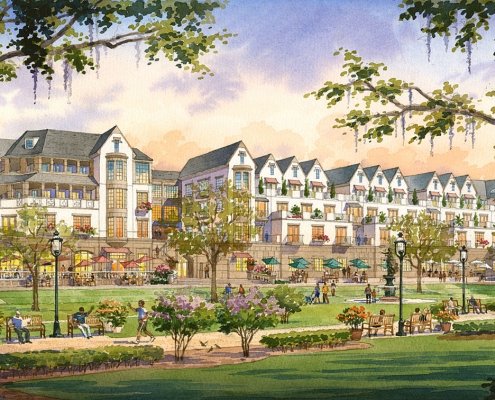 Watercolor Architecural Rendering of Carlisle for ACi Architects