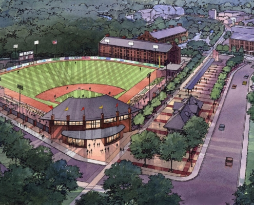 Pen & Ink with Watercolor Architectural Rendering of Baseball Stadium from an Aerial View