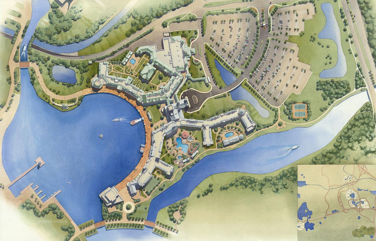 Watercolor Site Plan of Boardwalk & Shops