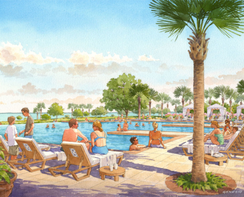 Watercolor Architectural Rendering of Oakland Park Adult Pool for Castle & Cooke